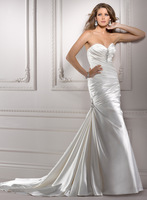 Stunning A-line floor-length soft satin wedding gown A3586