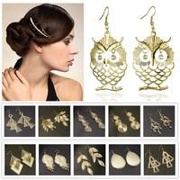Leaf Fan Owl Long Tassel Earrings Dangle Earrings Gold Plated Jewelry Vintage Retro Earrings 2014 New Fashion Earrings For Woman