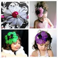 Free Shipping Beautiful Feather Headband hairband Baby Girls flowers headbands,kids' hair accessories Baby Christmas gift