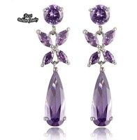 OL Ladies Dangle Earring Purple Crystal Zircon Long Earring Fashion Design ZC194ER