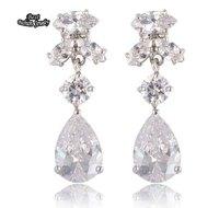White Crystal Transparent Romantic Drop Earring Long Dangle Earring ZC201ER