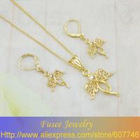 IIZ00078 18K Gold Filled Angel wings Jewelry Set