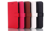 Free Shipping Litchi stria Leather  Smart  Stand  case Cover with Card Slot  for iPhone 6