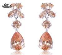 Champagne Crystal Zircon Drop Earring Silver Dangle Earring ZC199ER
