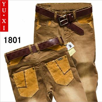 Бесплатная доставка продвижение настоящее 100% хлопок свободного покроя джинсы мужчин среднего талии прямые 2014 мужские эластичные тонкие тенденция пустыня брюки