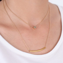 new fashion small accessories heart bar necklace short design two layer chain gold necklaces & pendants
