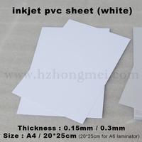 Inkjet white PVC Sheet  A4*0.15mm for 50pcs