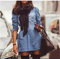 retro Vintage winter autumn jeans vestidos women round collar long sleeve Denim Loose a line dress for Ladies Casual Evening