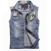 Free Shipping Autumn Brand Jeans Vest Patchwork Men Cowboy Vest Denim Sleeveless Jacket men's camouflage denim vests on sale!