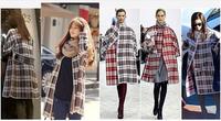 Christmas gift Fashion Women Clothes manteau Grid Knitwear Coat Abrigo