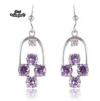Purple Crystal Zircon Dangle Earring Women Fine Jewelry ZC206ER