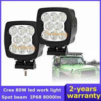 "2x Cree LED Work Light 80W UTV Van Driving Light Camper Pickup 4x4 Car Spot Beam 5.5"" SUV 12V 24V AWD Truck Offroad 4WD"