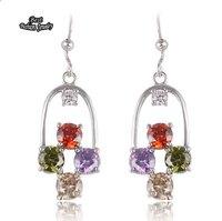 Colorful Crystal  Silver Birds Cape Shape Zircon Dangle Earring Women Fine Jewelry ZC204ER