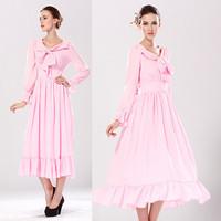 Autumn Dress Full Formal Pink Long Bridesmaid Dress For Evening Vintage Bowknot Steamer Dress On Line Plus Size Dresses 14896
