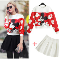 Hot selling!2014 high quality autumn sweatshirt+ball gown mini skirt character print slim women's sets casual female suits N442