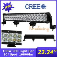 "22.24"" Cree led Offroad Light 108W 12V/24V AWD 4x4 4WD ATV Spot Beam driving lighting bar Pickup LED Work Light Pick-up Wagon"