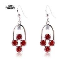 Long Big Zircon Dangle Earring for Women brincos grandes 2014 Red Crystal Zircon Earring ZC207ER