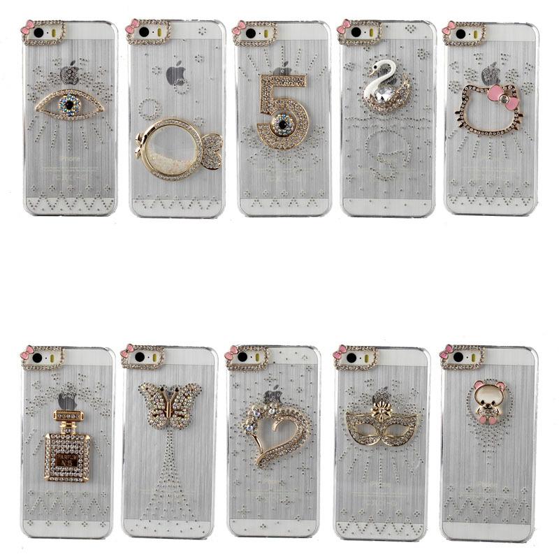 For iPhone 4 4G 4S New Rhinestone Case Crystal Diamond Hard Back Skin Phone Case Protective Shell Phone Case(China (Mainland))