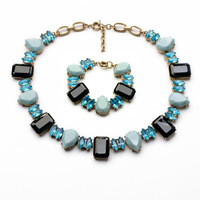 2014 Green Flower Choker Necklace Charm Bracelet Set Wedding Jewelry Jewelry Set  (Min Order $20 Can Mix)