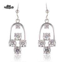 White Crystal Geometry Dangle Earring Women Big Square Silver Earring Zircon Earring ZC205ER