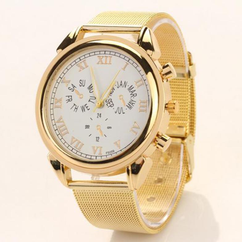 2014 Fashion Elegant Women Analog Quartz Stainless Steel Sub-Dial Golden Mesh Band Wrist Watch Lady Clock Wristband 50J*MHM388(China (Mainland))