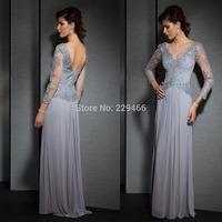 Vestido De Festa Curto Sliver Lace Beads See Through V-neck Long Sleeves Evening Dress Backless Formal Prom Dresses
