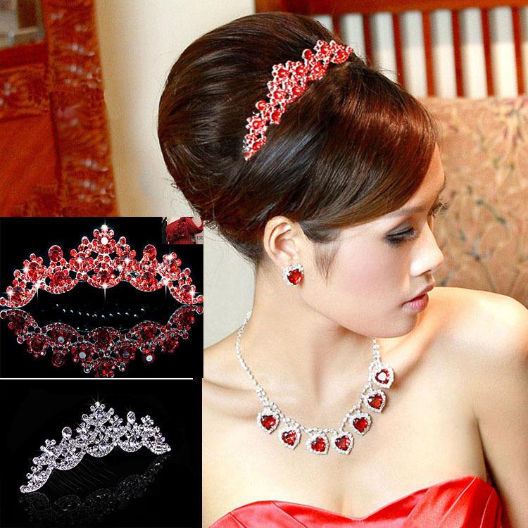 Silver /Red NEW Wedding Prom Bridal Bridesmaid Crystal Veil Tiara Crown Princess Pageant(China (Mainland))