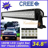 "34.8"" 4WD Flood Beam 90Degree 180W IP67 Offroad Lamp Reflector lens Cree led Boat Light DC10~30V led light Bar Pure White"