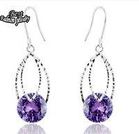 Amethyst Silver Sterling Dangle Earring Top Quality Fashion Women Drop Earring ZC213ER