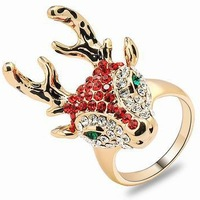 18K Gold Plated Fashion Deer  Rings for women Cubic Zircon Red/ Champagne Rhinestone Crystal Ring Jewellery wholesale