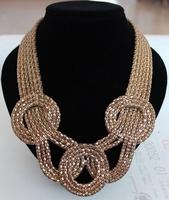 Bohemian style chunky gold multi strand snake chain big round three knot pendant & exaggerated choker statement necklace