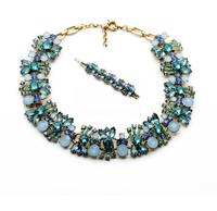 2014 Fresh Blue Pink Statement  Flower Choker Necklace Charm Bracelet Set Wedding Jewelry Jewelry Set  (Min Order $20 Can Mix)