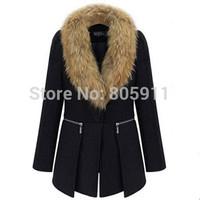 Women Wool Coat Fur Collar Plus SIZE Fashion Cardigan Worsted Winter Coat Overcoat Black Size  XL-6XL Free Shipping