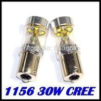 10pcs Bright CREE 30W 1156/Ba15s/P21W Power LED Backup Reverse Tail Light Bulb Lamp White DRL Headlight parking car light source