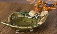 Village exquisite ceramic leaf-shaped fruit snacks storage tray dipping sauce dish Vintage Home Decoration