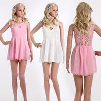 Fashion 2014 new Women Dress party elegant summer Beach Sexy Tank Vest chiffon hollow lace Dress Mini free shipping
