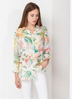 2014 new fashion women elegant plant flower printed long sleeve blouse Lady casual slim brand design shirt #E890