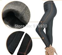 Free Shipping Winter Thicken Cotton Faux Jeans Leggings Women Plus velvet Warm Slim Pencil pants DDK 006