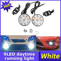 A Pair of Car led Daytime Running Light Truck White lighting Offroad Bulb Kit 9-LED DRL Driving Round lights Fog Lamp