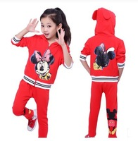 New 2014 Spring And Autumn Cotton Minnie Clothing Set For Girls Casual Children's Set Wholesale And Retail With Free Shipping