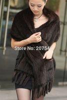 YR782 Top Natural Knit Mink Fur Shawl Black, Mink Fur Shawl Chinese Mink Fur Cape