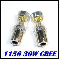 HotSale 10pcs/lot super brightness High Power 1156 led, 30W CREE XBD p21w led, ba15s Reverse Tail Light Bulb Lamp White