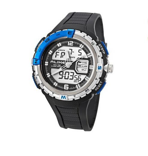 multifunctional dual display rubber waterproof men stopwatch waterproof swim hours Stylish Super hiking sports electronic watch(China (Mainland))