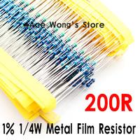 (200Pcs/Lot) 1/4W 200 ohm +/- 1% resistor 1/4w 200R ohm Metal Film Resistors / 0.25W color ring resistance