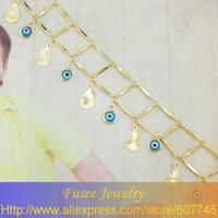 IIZ00878 18K Gold Filled evil eye heart pendant necklace Jewelry Set