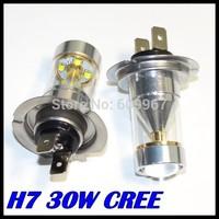 H7 Led Bulb 30W High Power Ultra Bright CREE H7 LED Car Foglamp Fog Light 700LM White 12V Free Shipping Wholesale