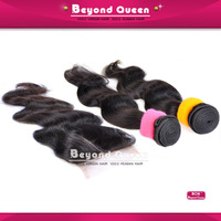 "Human hair Brazilian body wave16"" 18"" 20"" 3pcs mixed different length with 14"" closure body virgin brazilian bundle and closure"