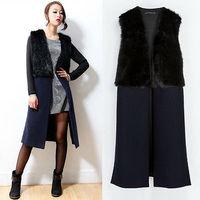 2014 New Warm winter Women's Overcoats Fashion Navy Plus size Thickening Faux Fur Long Vest Sleeveless Woolen Coat Outwear
