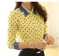 2014 Ladies Spring Slim Peter Pan Diamante Collar Polka Dot Print Chiffon Long-sleeve casual Blouses Shirt For Women
