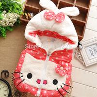 New 2014 Children Vests Hello Kitty Dotty Girls Vest Soft Warm Kids Waistcoat Baby Girls Winter Zipper Outerwear